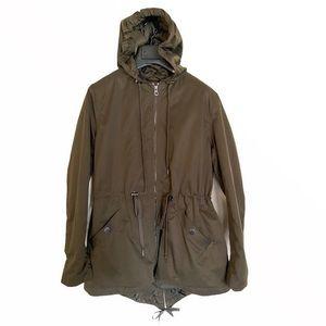 H&M Olive Green Full Zip Long Jackets Coat Size 14